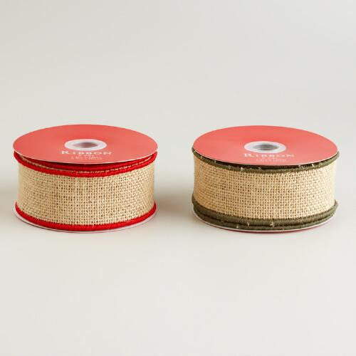 Burlap with Contrast Edge Ribbon, Set of 2