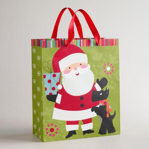 Large Santa and Scotty Gift Bag