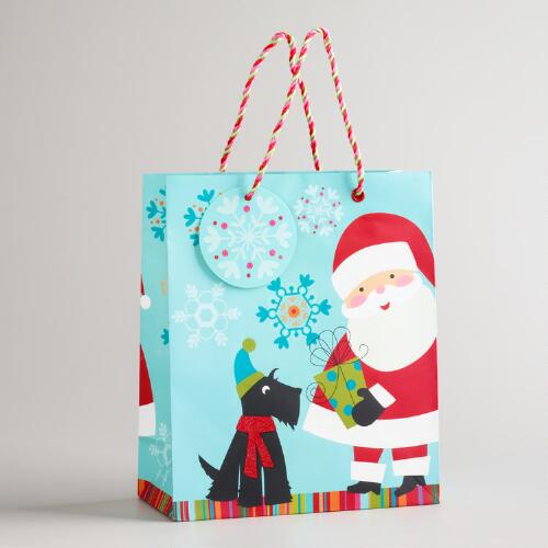 Medium Santa and Scotty Gift Bag