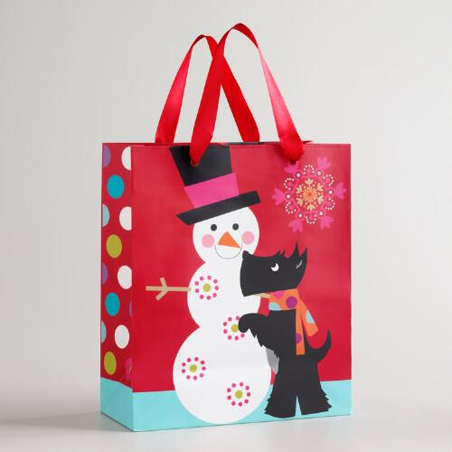 Medium Snowman and Scotty Gift Bag