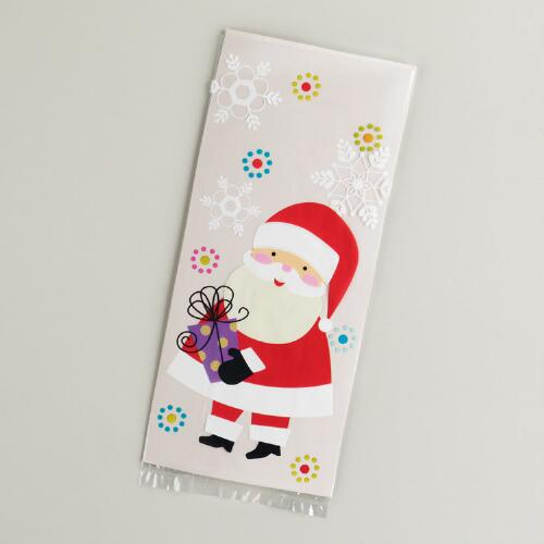 Santa and Scotty Cellophane Bags, 8-Pack