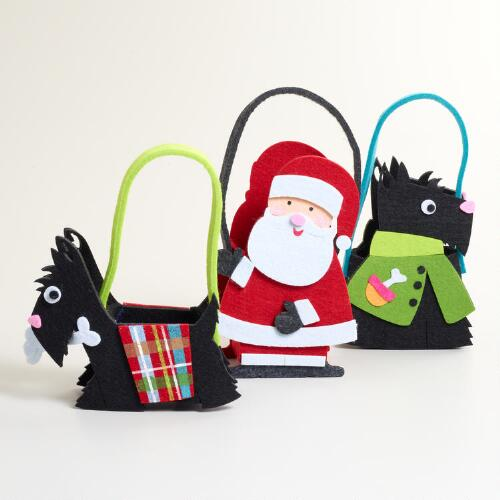 Scotty and Santa Felt Gift Containers, Set of 3