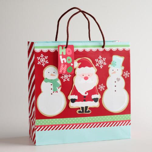 Large Santa and Snowman Gift Bag