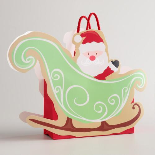 Small Santa and Sleigh Gift Bag