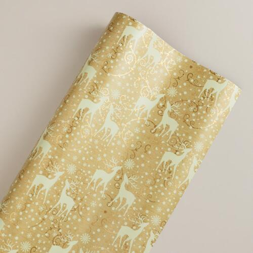 Gold Reindeer Gift Wrap Sheet