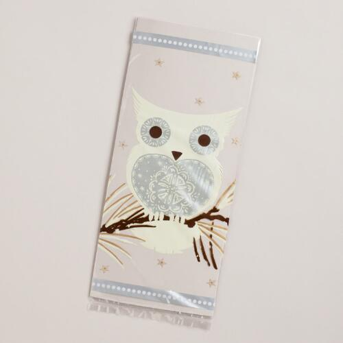 Winter Owl Cellophane Bags, 8-Pack