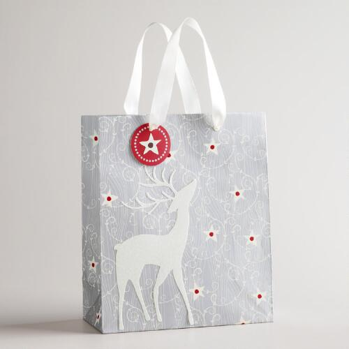Medium Silver Reindeer Gift Bag