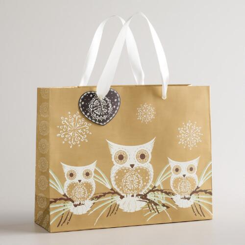 Medium Gold Three Owl Gift Bag
