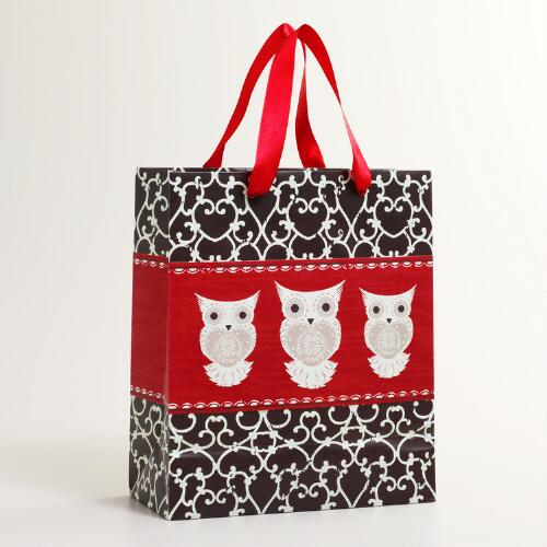 Medium Brown Iron Scroll with Three Owls Gift Bag