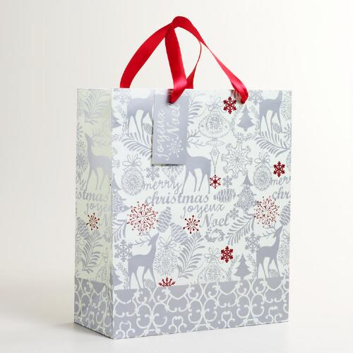 Large Silver and Red Reindeer Gift Bag