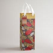 Red and Brown Pine Cone Wine Bag