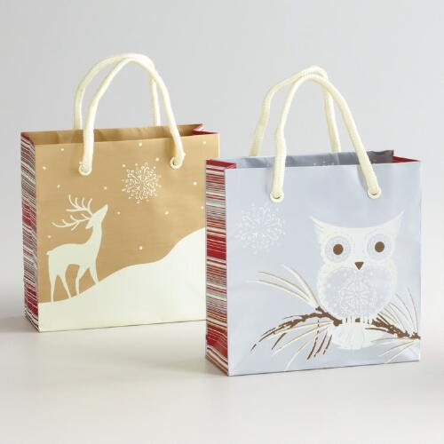 Mini Winter Owl Gift Bags, Set of 2