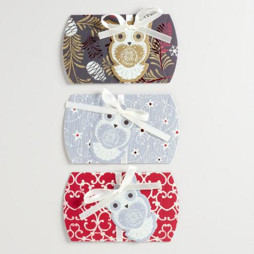 Winter Owl Gift Pouches, Set of 3