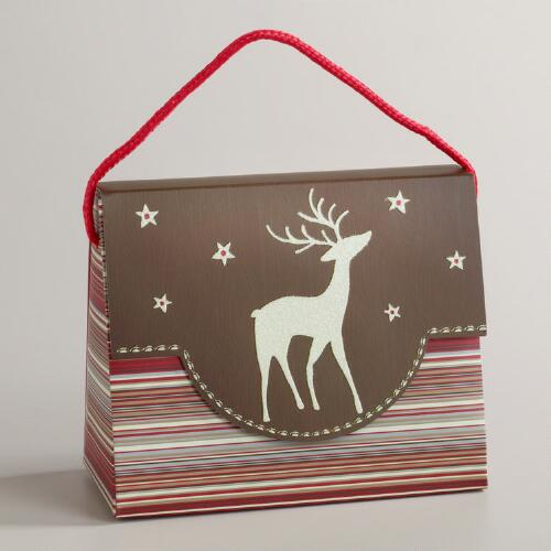 Reindeer on Striped Candy Purse