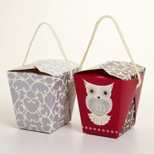 Medium Winter Owl Take Out Boxes, Set of 6