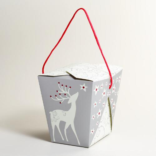 Large Reindeer Take Out Boxes, Set of 6