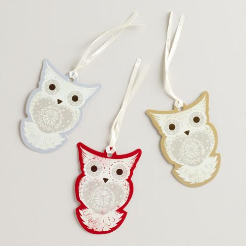 Winter Owls Gift Tags, Set of 3