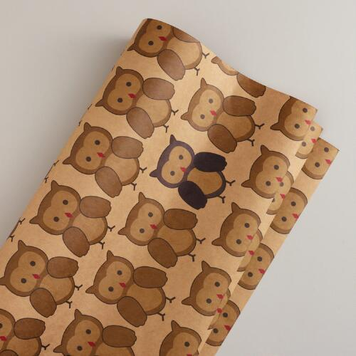 Woodland Owl Kraft Gift Wrap Roll