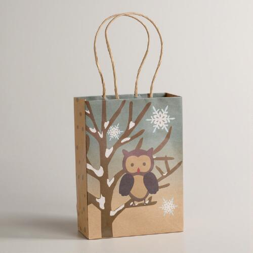 Small Owl on Branch Gift Bag