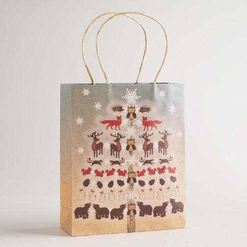 Medium Woodland Owls in Tree Gift Bag