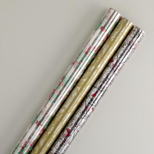 Assorted Christmas Cellophane Rolls, Set of 3