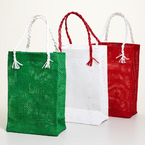 Red, Green and Cream Woven Bags, Set of 3