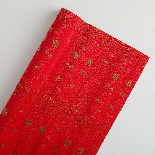 Red Stars Florist Crepe Paper