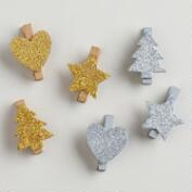 Gold and Silver Glitter Wooden Clips, Set of 2