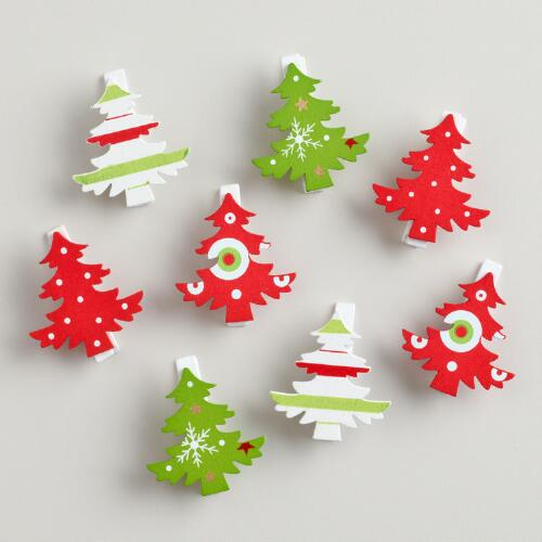 Christmas Trees Wooden Clips, Set of 2