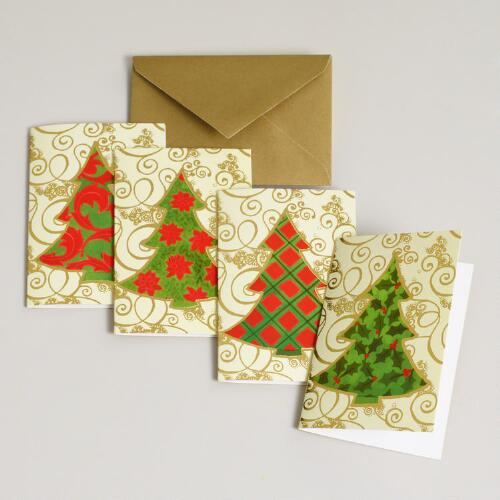 Christmas Tree Enclosure Cards, Set of 16