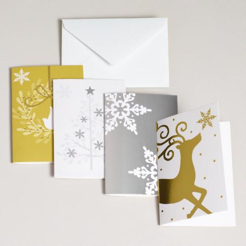 Gold and Silver Enclosure Cards, Set of 16