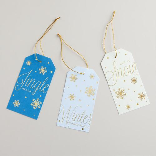 Metallic Snow Die-Cut Kraft Gift Tags, Set of 6