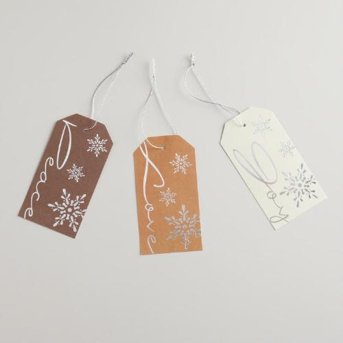 Metallic Peace Die-Cut Kraft Gift Tags, Set of 6