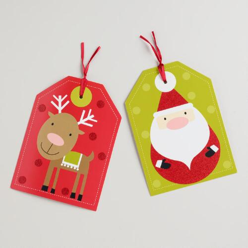 Oversized Santa and Reindeer Die-Cut Gift Tags, Set of 6