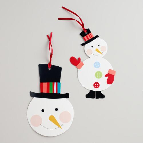 Oversized Snowman Die-Cut Kraft Gift Tags, Set of 6
