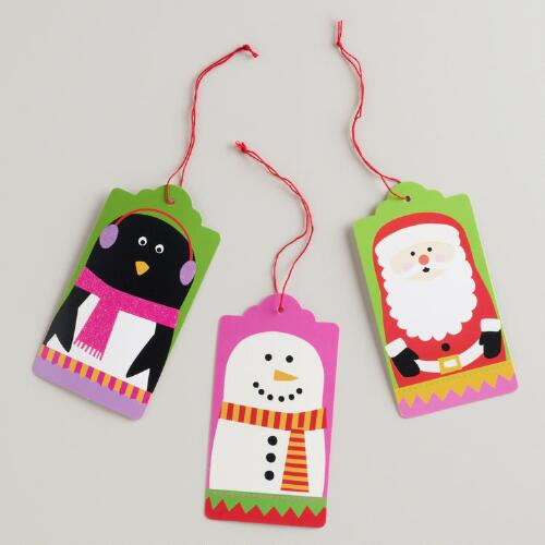 Oversized Penguin, Snowman and Santa Die-Cut Kraft Gift Tags