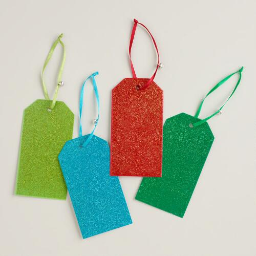 Glitter Christmas Gift Tags, Set of 8