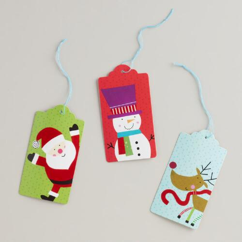 Santa, Reindeer and Snowman Die-Cut Gift Tags, Set of 6