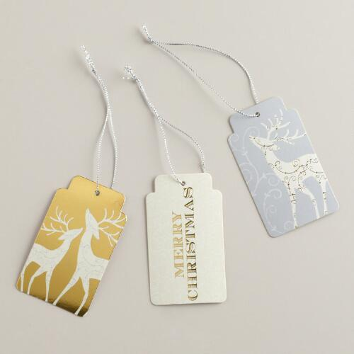 Silver and Gold Reindeer Di-Cut Gift Tags, Set of 6
