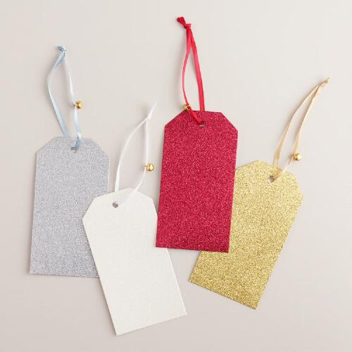 Red Glitter Winter Di-Cut Gift Tags, Set of 6