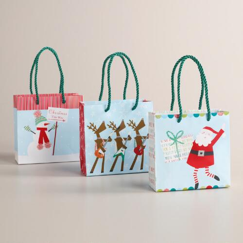 Mini Guitar Playing Reindeer Value Gift Bags, Set of 3