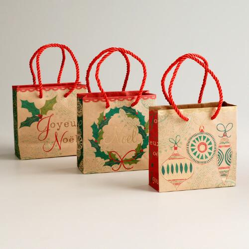 Mini Noel Wreath Kraft Value Gift Bags, Set of 3