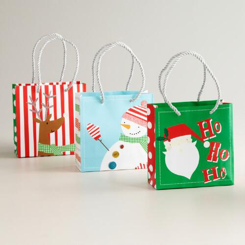 """Ho Ho Ho"" Santa Kraft Value Gift Bags, Set of 3"