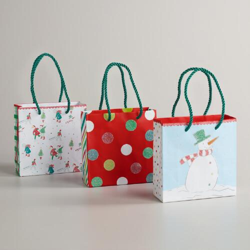 Mini Winter Snow Scene Value Gift Bags, Set of 3