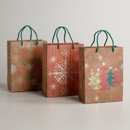 Medium Christmas Trees Kraft Gift Bags, Set of 3
