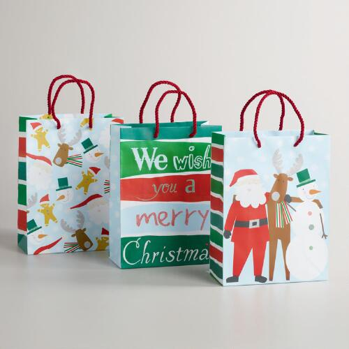 Medium Tossed Gingy Value Gift Bags, Set of 3