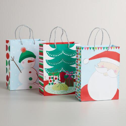 Medium Green Hat Snowman Value Gift Bags, Set of 3