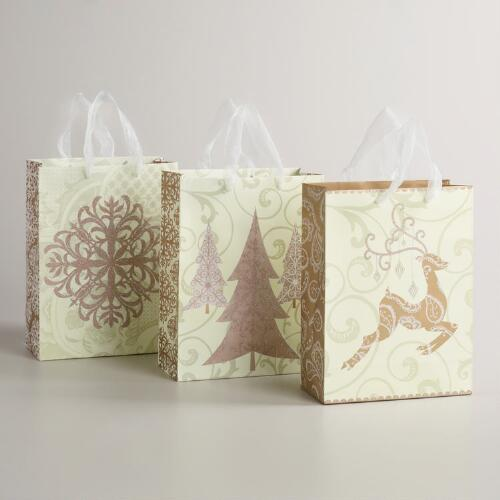 Medium Gold and Ivory Reindeer Value Gift Bags, Set of 3