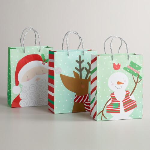 Medium Big Santa Head Value Gift Bags, Set of 3