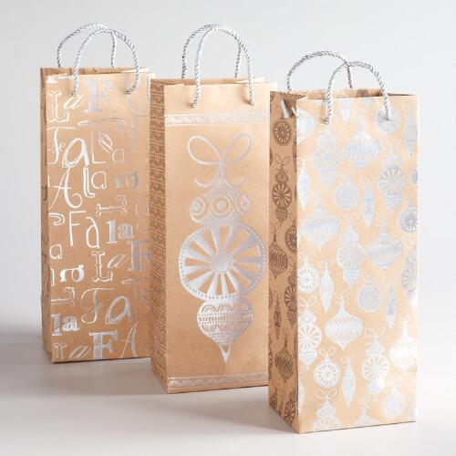 Silver Ornaments Kraft Value Wine Bags, Set of 3